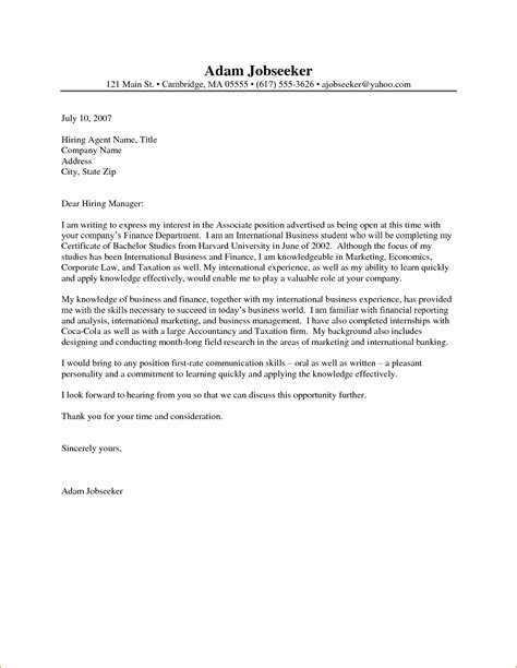 format of a cover letter for an internship internship cover letter letters free sle letters