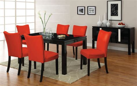Black Dining Sets With 6 Chairs 7pc Lamia Black High Gloss Lacquer Dining Table Set 6 Chairs