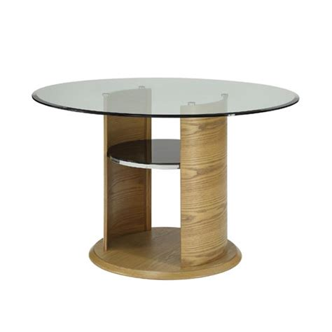 curve clear glass dining table in oak jf603 18422 fur