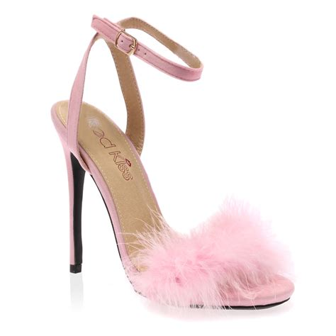 Ladies Ankle Strap Womens Faux Feather Peep Toe Fluffy