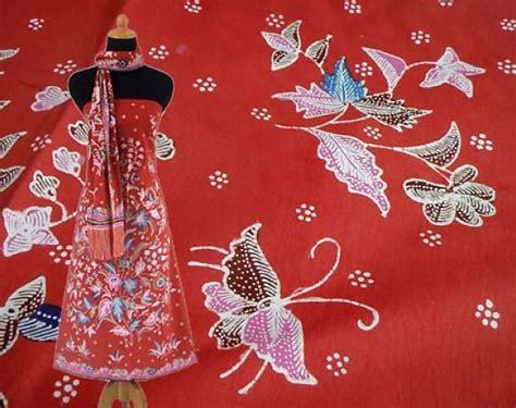 motif bunga batik batik tulis motif bunga kupu kupu 5 warna latar oranye