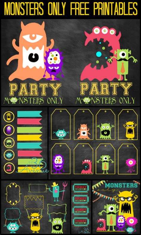 free printable monster birthday decorations monster party and free printables the 36th avenue
