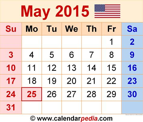 Calendar May 2015 May 2015 Calendars For Word Excel Pdf