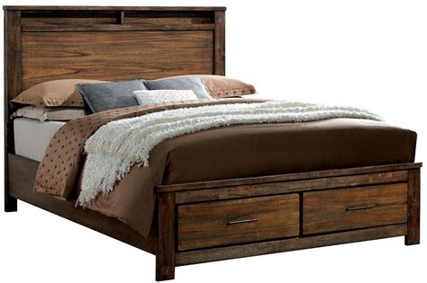 oak queen bed elkton oak queen platform storage bed cm7072q furniture