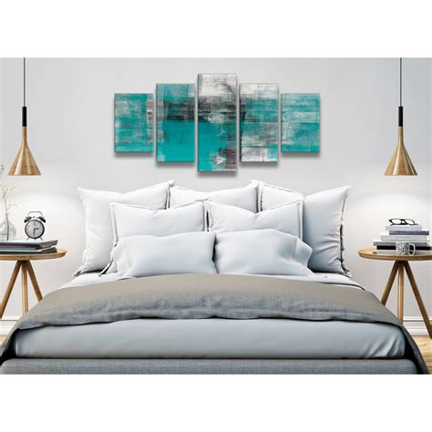 5 part teal black white painting abstract office canvas wall art decor 5399 160cm xl set artwork