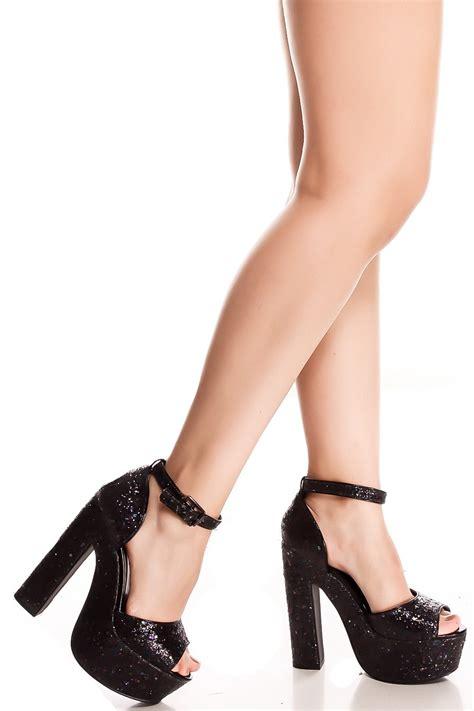 black glitter high heels black glitter chunky high heel s heels heels
