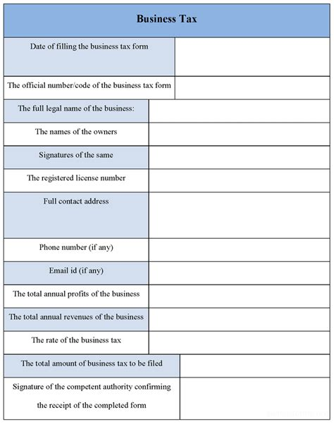 business tax form sle forms