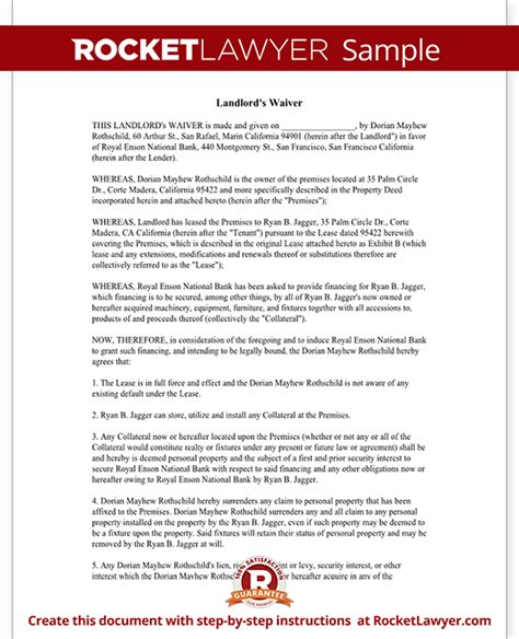 Release Letter From Landlord Landlord Waiver Form Lien Waiver For Landlords With Sle