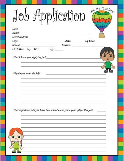 childrens place printable job application pinterest the world s catalog of ideas