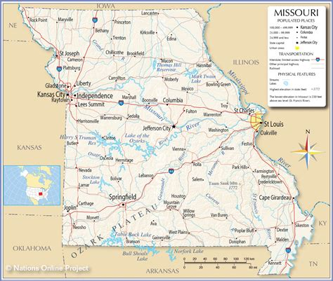 missouri map with cities and towns reference map of missouri usa nations project