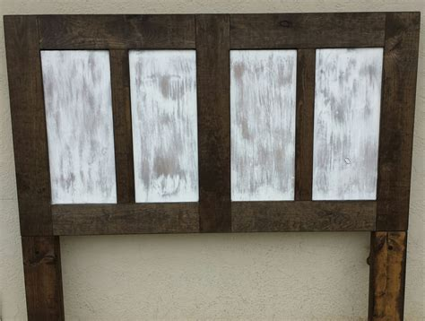 white distressed headboard 4 panel headboard distressed white by dixonanddad on etsy