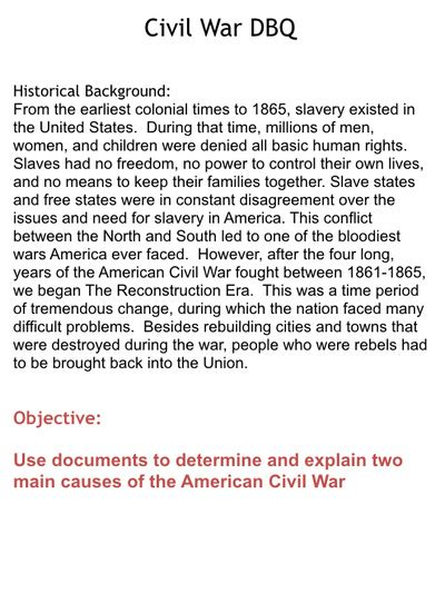 sectionalism dbq civil war dbqs mr mcdaniel