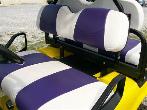 golf cart seat upholstery white and purple striped golf cart deluxe 226 162 seat covers