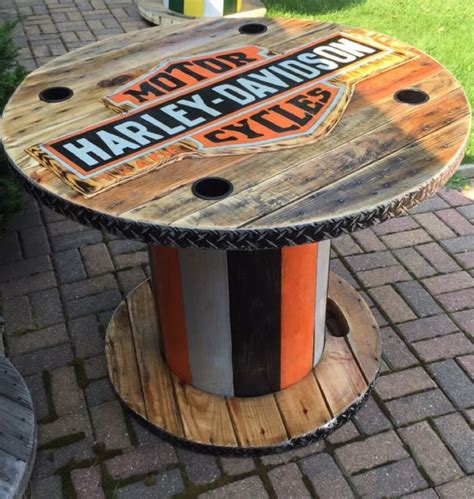 harley davidson patio furniture wooden spool harley davidson table my creations cool