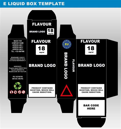 liquid template design packaging templates for e juice labels