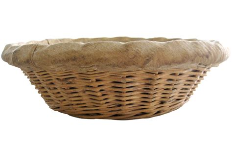 Country French Chandelier French Antique Round Wicker Bakers Bread Basket Second