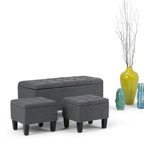 Grey Ottoman Bench Simpli Home Dover Slate Grey Ottoman Bench Axcot 238 Gl The Home Depot