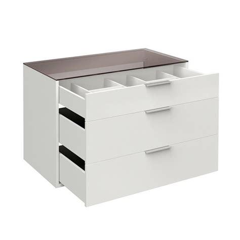 bloc tiroir bloc 3 tiroirs 100cm avec tablette verre quot facility quot blanc