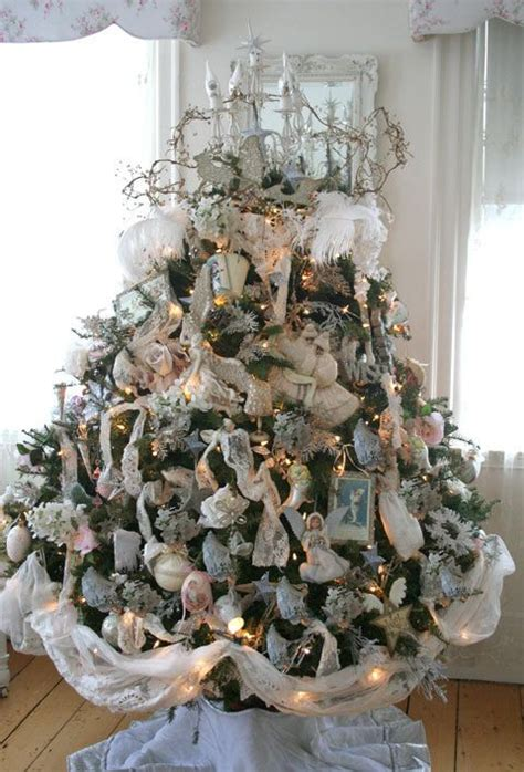 good ideas for shabby chic christmas tree decoration