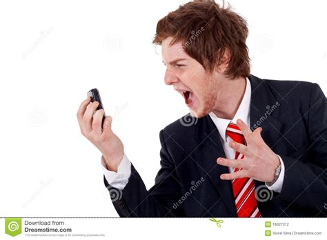 Screaming Phone business screaming on the phone stock photography