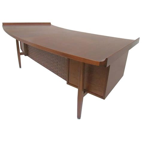 large executive mid century modern walnut l shape desk mid century modern executive desk with elliptical top by