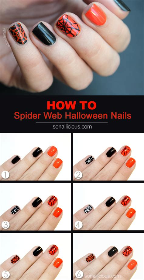 easy nail art how to tutorial halloween spider web nail art