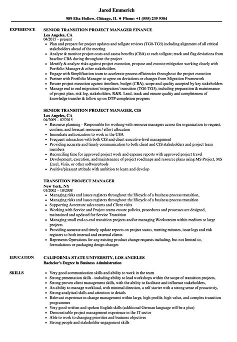 Transition Project Manager Sle Resume by Resume Sle Transition Project Manager Scholarship Templates Iso Management Representative
