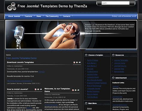 template joomla music free feel the music joomla 2 5 theme