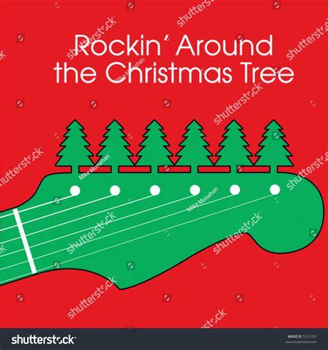 rockin around the christmas tree stock vector