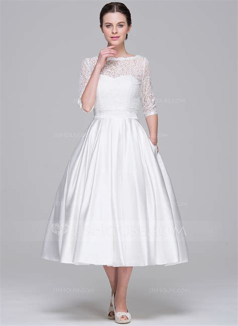 Brautkleider Wadenlang by A Line Princess Sweetheart Tea Length Satin Wedding Dress