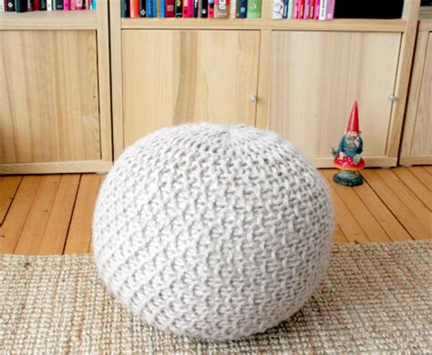 free knitted pouf pattern cool idea knit your own pouf popsugar home