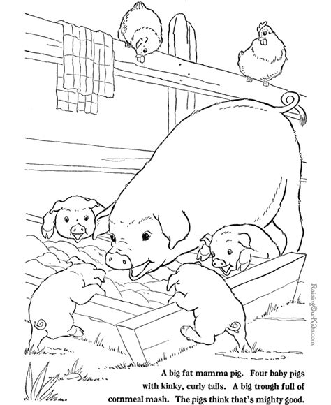 farm pig coloring page farm animal coloring pages pigs to print and color 003