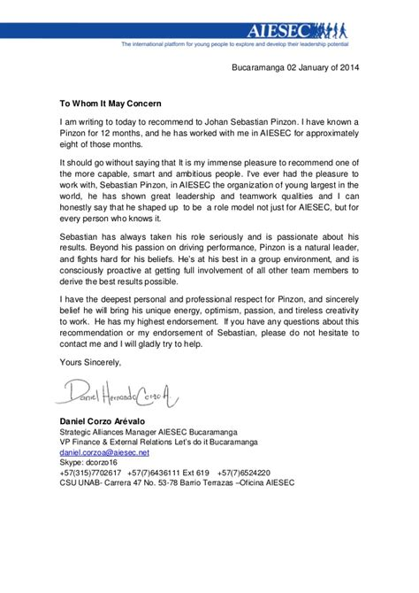 Endorsement Letter Aiesec letter of recommendation aiesec carta de recomendaci 243 n