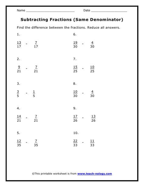 Adding Fractions With Same Denominator Worksheet by Worksheets Subtracting Fractions With Like Denominators