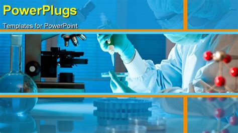 powerpoint themes laboratory powerpoint template female scientist working at the