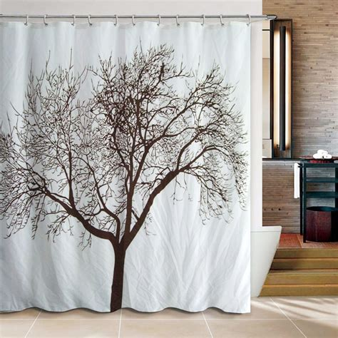 Natural White Polyester Tree Shower Curtains