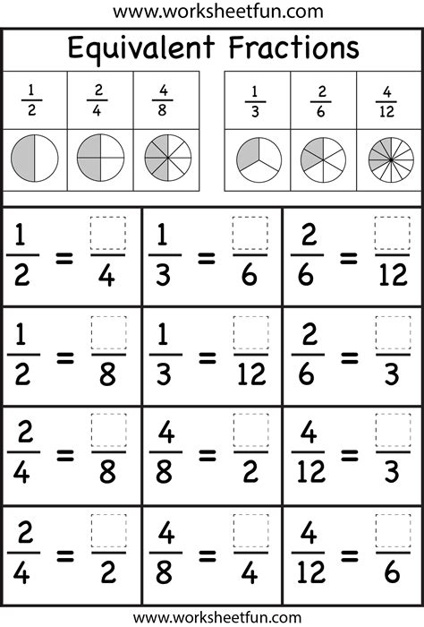Simple Fractions Worksheets by Equivalent Fractions Fraction Worksheets