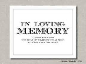 in loving memory printable wedding poster or by