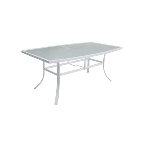 White Patio Tables Shop Allen Roth Park 42 In W X 72 In L 6 Seat White Aluminum Patio Dining Table With A