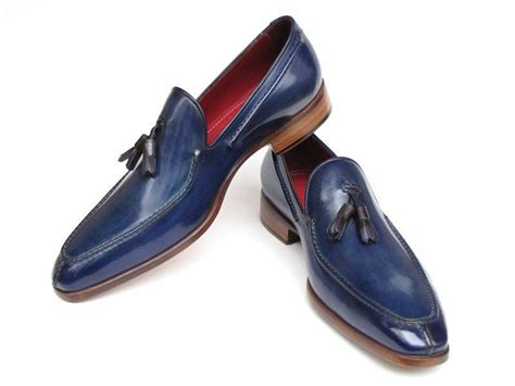 s tassel loafer shoes paul parkman s tassel loafer blue painted leather