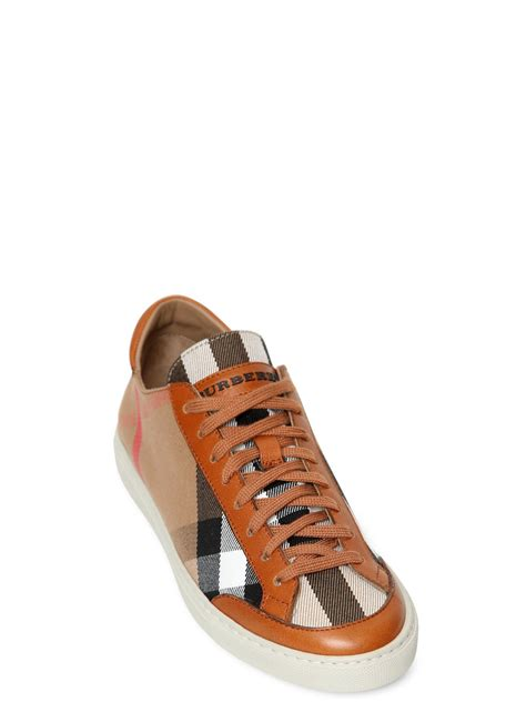 burberry shoes burberry hartfields leather check sneakers in brown lyst