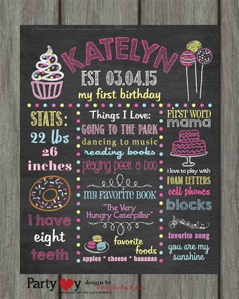 first birthday chalkboard poster first birthday birthday