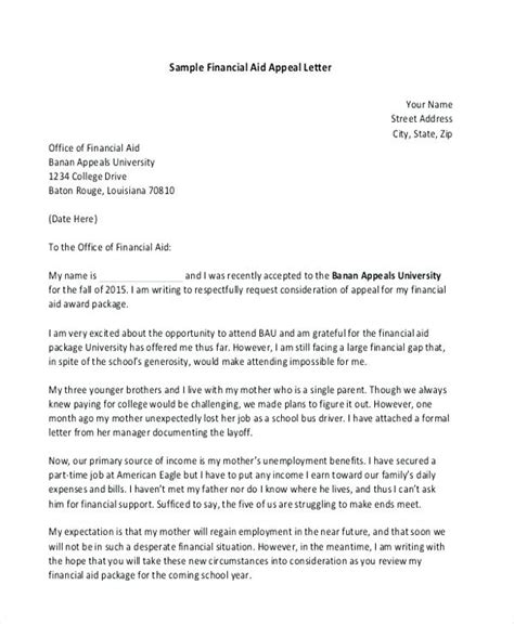 financial aid cancellation letter of financial aid appeal letter sle sle financial aid