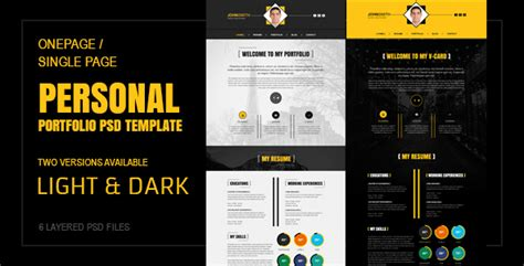 Single Page Portfolio Template By Themewings Themeforest Course Portfolio Template