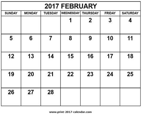 printable calendar february 2017 2017 february calendar