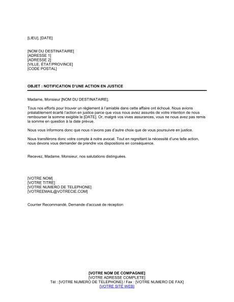 lettre de notification d en justice template