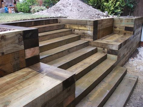 Sleeper Steps by Steps Walls Patio With New Railway Sleepers