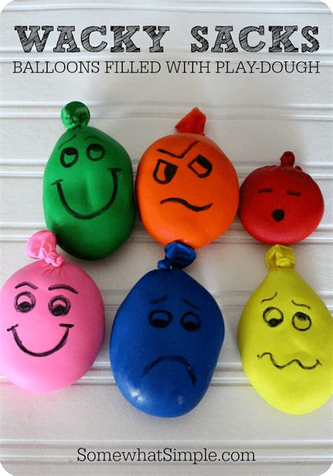 kid crafts wacky sacks balloons filled with playdough somewhat simple