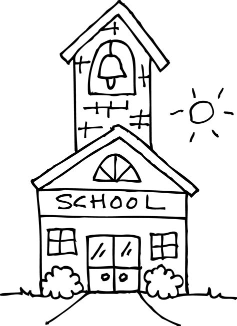 cute schoolhouse coloring page free clip art
