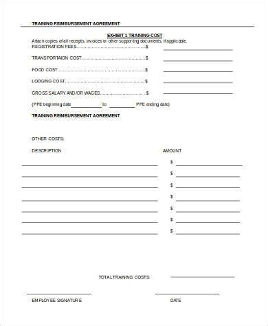 reimbursement agreement template sle agreement forms 10 free documents in